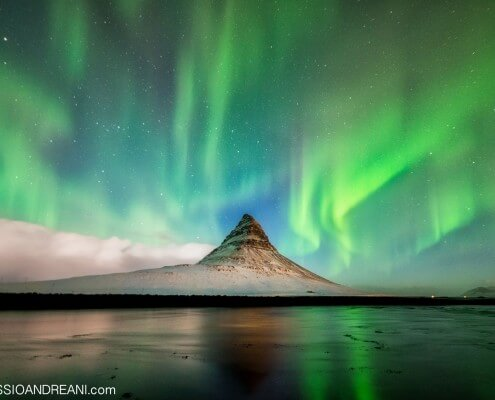 Kirkjufell mount in Iceland Northern Lights - Aurora Borealis