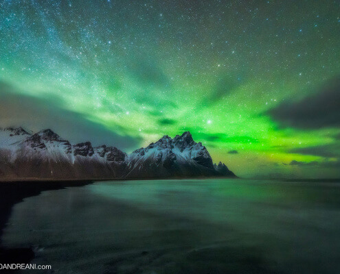 Northern lights (Aurora Borealis) in Iceland, Stokksnes, Vestrahorn