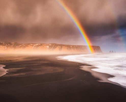 Rainbow and rain in Iceland, Vik