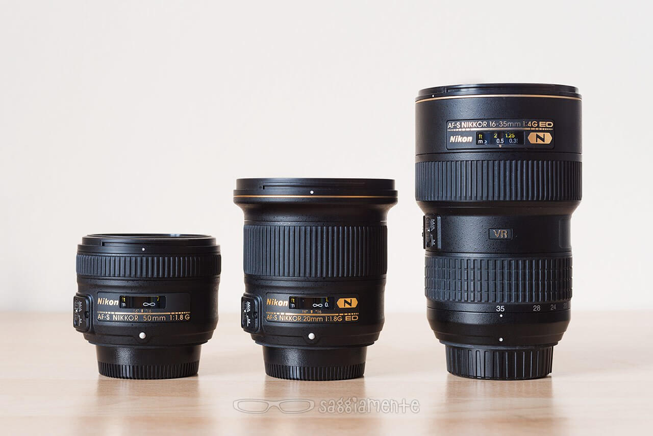 Nikon 20mm f-1-8 compared to 50mm and 16-35mm